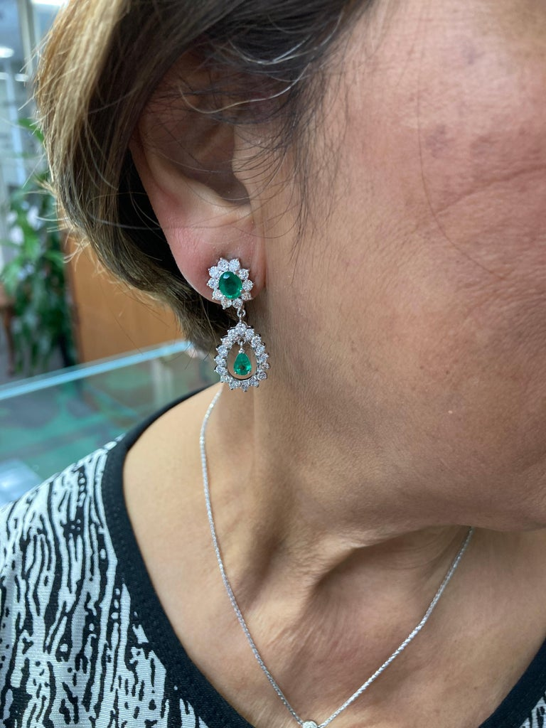 Emerald Diamond White Gold Drop Clip on Earrings For Sale 1