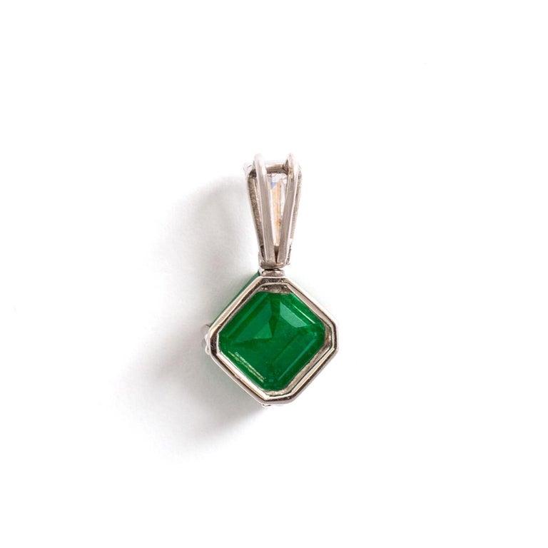 Art Deco Emerald Diamond White Gold Pendant For Sale