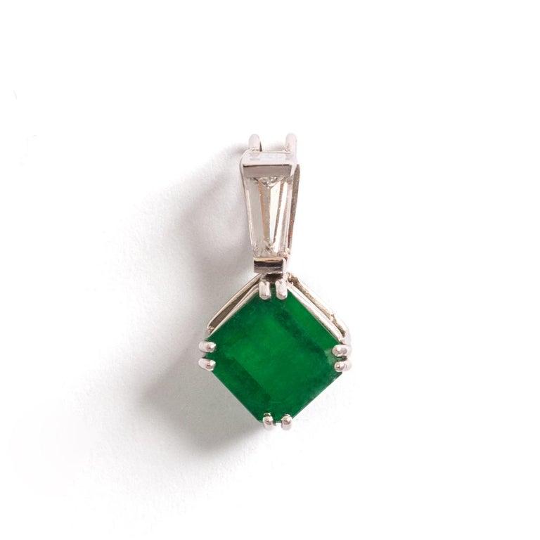 Emerald Cut Emerald Diamond White Gold Pendant For Sale