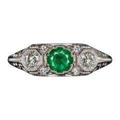 Art Deco Natural Diamond Emerald Gold Ring