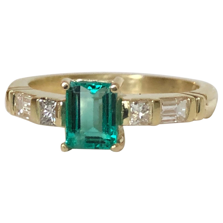 Emerald Diamond Yellow Gold 18 Karat Engagement Ring