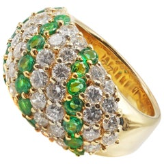 Emerald Diamond Yellow Gold Bombe Ring