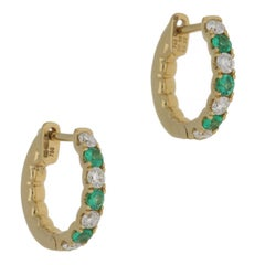 Emerald Diamond Yellow Gold Hoop Earrings