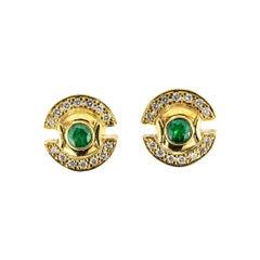 Emerald Diamond Yellow Gold Stud Earrings