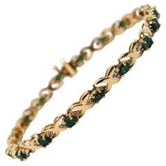 Emerald Diamond Yellow Gold Tennis Bracelet