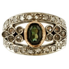 Emerald, Diamonds, 14 Karat Rose Gold and Silver Retro Ring