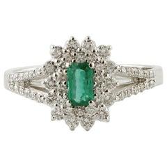 Emerald, Diamonds, 18 Karat White Gold Engagement Ring