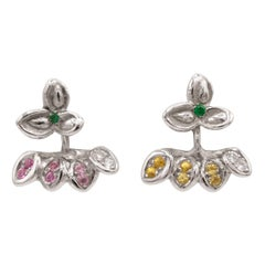 Emerald Diamonds and Pink Sapphires 18 Karat White Gold Earrings