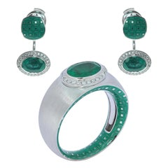 Emerald Diamonds Enamel 18 Karat White Gold Suite