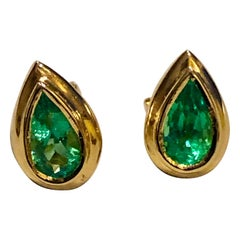 Emerald Dome Stud Pear Cut Earrings 18 Karat Gold
