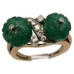 Emerald Double Carved Diamond Ring