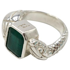Emerald Double Head Silver Snake Ring Statement J Dauphin