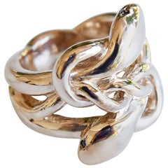 Emerald Double Snake Ring Victorian Style Cocktail Bronze Animal Ring J Dauphin