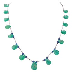 Emerald Drop and Tanzanite Beaded Necklace