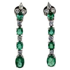 Emerald Drop Dangle Earrings 18K