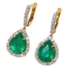 Emerald Drops and Diamonds Earring in 18 Karat Yellow Gold