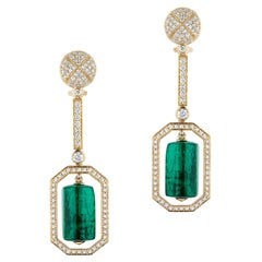 Emerald Drum Shape Tumbled Long Earrings with Diamonds