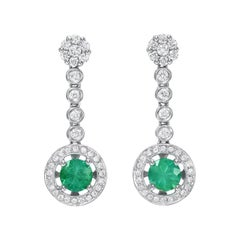 Emerald Earrings 0.98 Carats Round