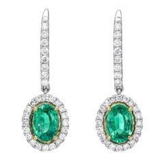 Emerald Earrings 1.48 Carat Ovals