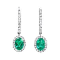 Emerald Earrings 1.50 Carat Ovals