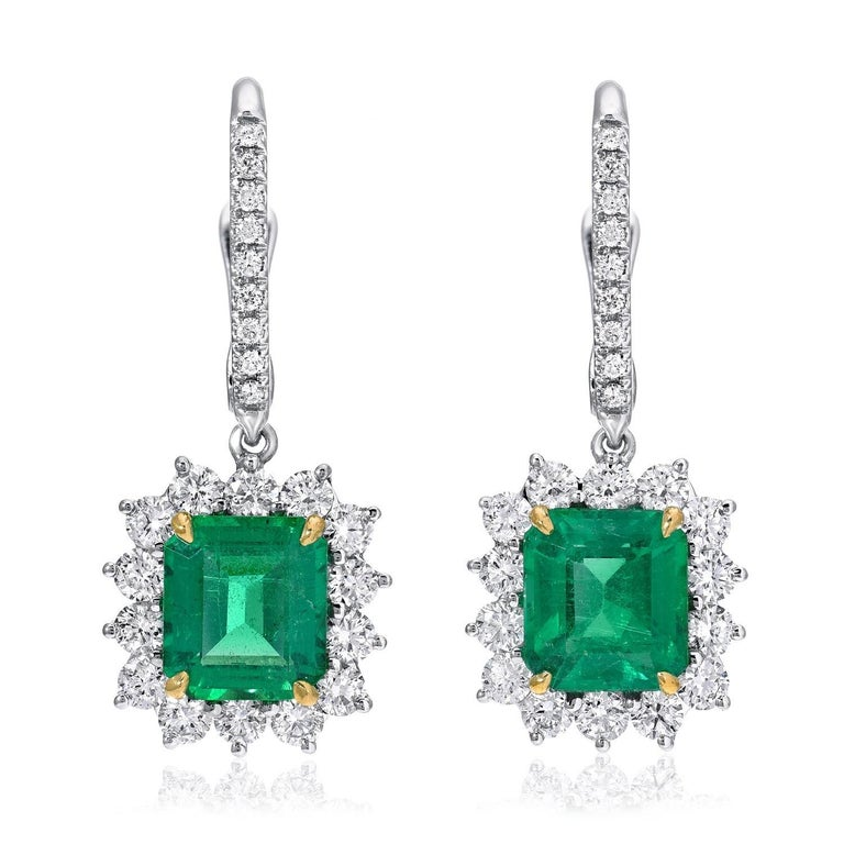 Contemporary Emerald Earrings Emerald Cut 2.86 Carats  For Sale