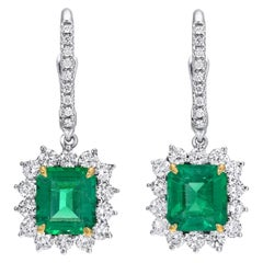 Emerald Earrings Emerald Cut 2.86 Carats