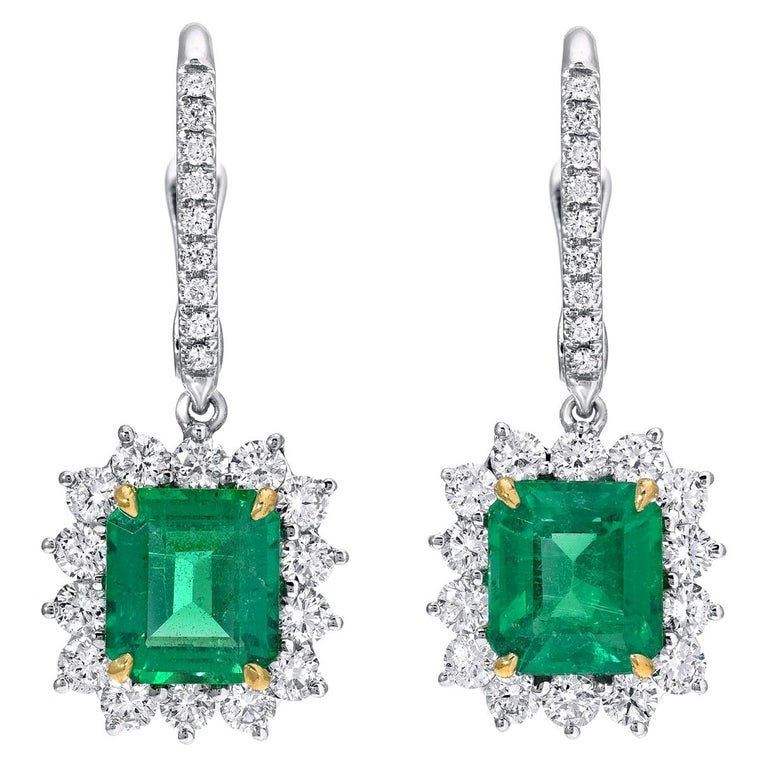 Emerald Earrings Emerald Cut 2.86 Carats  For Sale