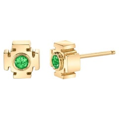 Emerald Earrings with Diamonds
