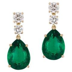 Emerald Earrings Yellow Gold 7.09 Carat GRS Certified Diamond 18 Karat Andreoli