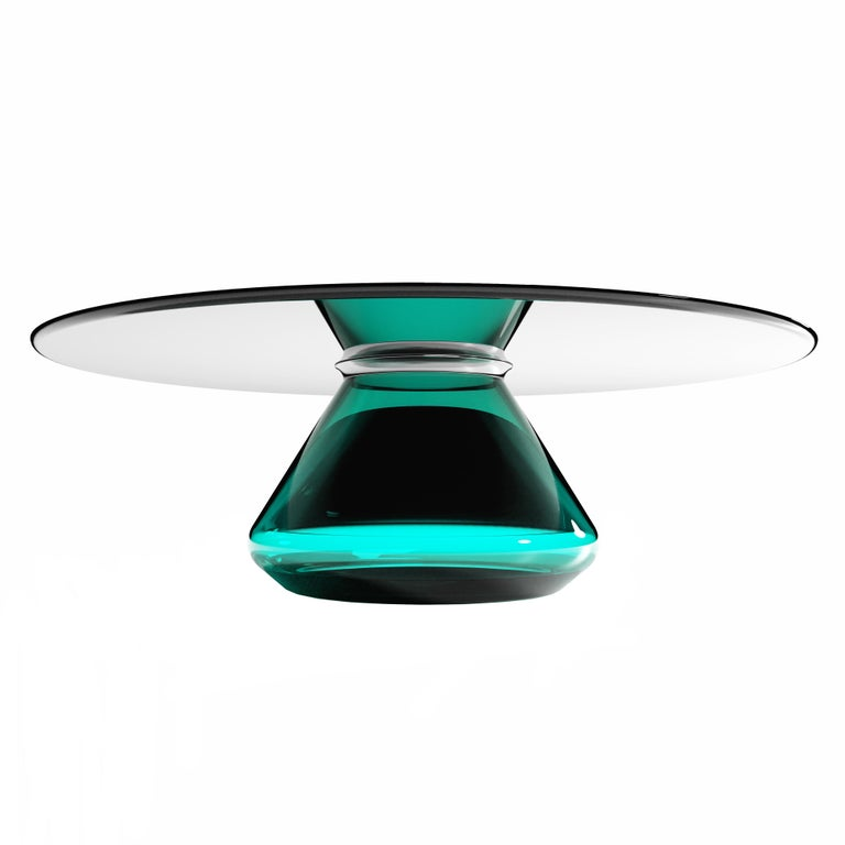 """Emerald Eclipse"" Contemporary Coffee Table Ft. Glass Base&Top by Grzegorz Majka For Sale"