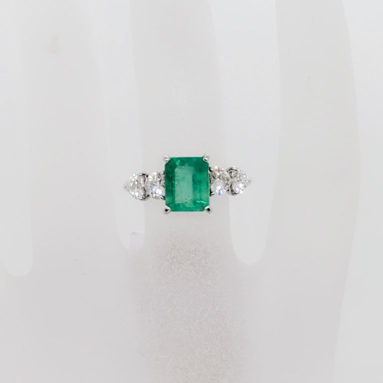 Emerald Emerald Cut and White Diamond Heart Ring in Platinum In New Condition For Sale In Los Angeles, CA