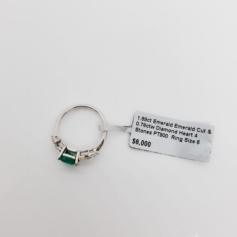 Emerald Emerald Cut and White Diamond Heart Ring in Platinum For Sale 1