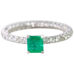 Emerald Engagement and Dainty Ring with Pave Diamond Setting