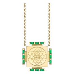 Emerald Engraved Necklace