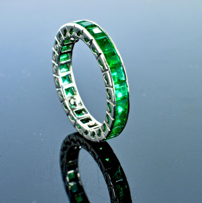 Contemporary Emerald Eternity Band