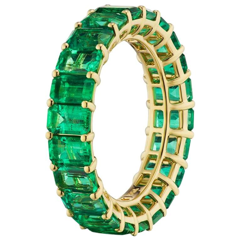 Takat Emerald Eternity Band In 18K Yellow Gold For Sale