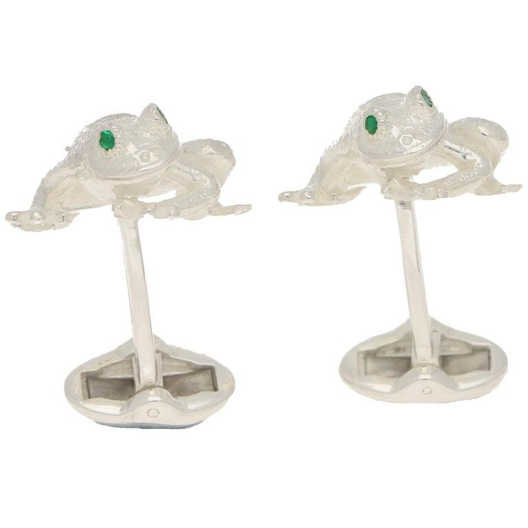 Women's or Men's Emerald Eyed Frog Swivel-Back Cufflinks in Sterling Silver For Sale