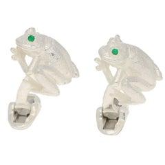 Emerald Eyed Frog Swivel-Back Cufflinks in Sterling Silver