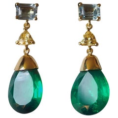 Emerald Faced Drops Yellow Diamond Aquamarine 18 Karat Gold