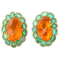 Emerald Fire Opal Diamond Gold Earclips