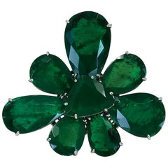 Emerald Flower Convertible Ring Pendant