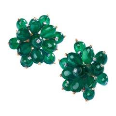 Emerald Flower Earrings in 14 Karat Gold with Diamonds