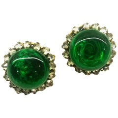 Emerald glass, rose montes and gilt metal button earrings, Miriam Haskell, 1950s