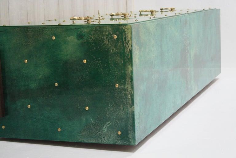 1960s Hollywood Regency Emerald Green Goatskin Credenza by Aldo Tura For Sale 5