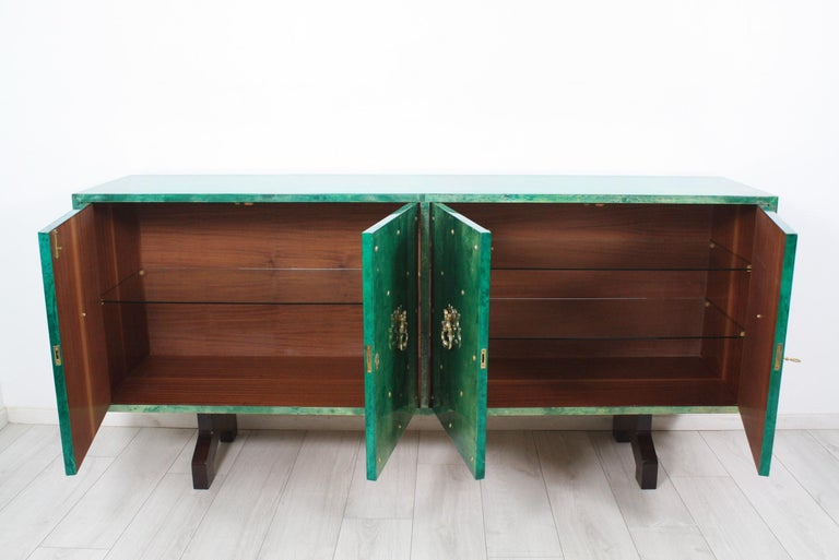 20th Century 1960s Hollywood Regency Emerald Green Goatskin Credenza by Aldo Tura For Sale