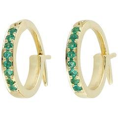 Emerald Gold Huggie Hoop Earrings