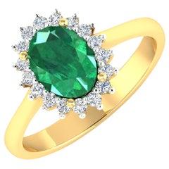 Emerald Gold Ring, 14 Karat Gold Emerald and Diamond Engagement Ring, 1.87 Carat