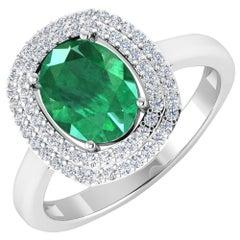 Emerald Gold Ring, 14 Karat Gold Emerald and Diamond Engagement Ring, 1.93 Carat