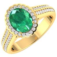 Emerald Gold Ring, 14 Karat Gold Emerald and Diamond Ring, 2.07 Carat