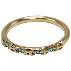Emerald Gold Stackable Earth Amazon Rainforest Ring J Dauphin
